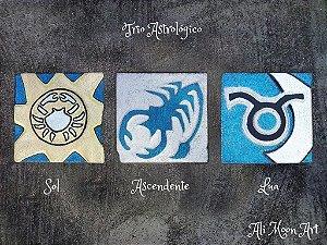 Trio Astrológico - Sol, Ascendente e Lua (quadros individuais) - Arte sob encomenda de acordo com o seu Mapa Astral