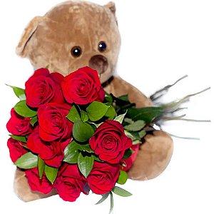 Urso TED + Buquê de Rosas Colombianas