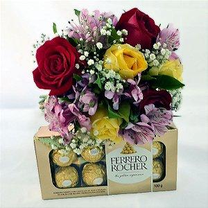 Linda - Buquê de Rosas + Ferrero Rocher 100g