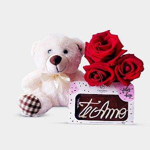 Urso + Trio de Rosas + Chocolate