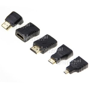 Kit 5 Adaptador Hdmi : Mini +micro +emenda +l +macho X Femea
