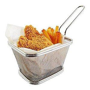 Cesta Inox Para Servir Fritas Fritura Porções Frango Alça P