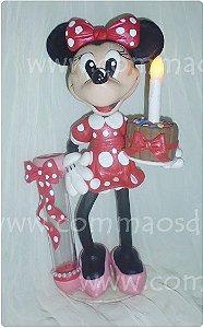 Luminária de mesa de festas  Minnie 27cm-  Numero com pavio mágico grátis