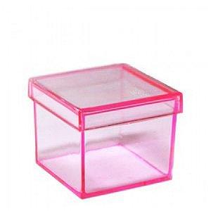 40 caixa de acrilico cor de rosa - 5x5cm - Cada 0,69R$