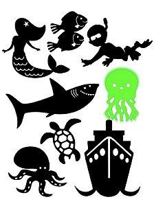 Fundo do Mar - personagens para Teatro de Sombras BRILHA NO ESCURO