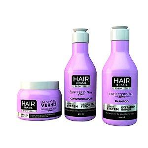 Kit Banho de Verniz Lumini - Shampoo + Condicionador + Máscara - Hair Brasil