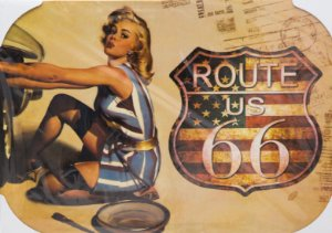 Placa Decorativa Retrô - Route US 66