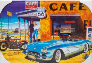 Placa Decorativa Retrô - Cafe Route 66
