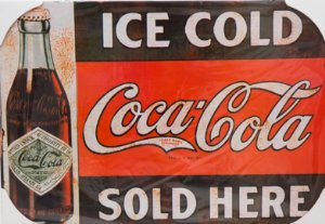 Placa Decorativa Retrô - Ice Cold Coca Cola Sold Here