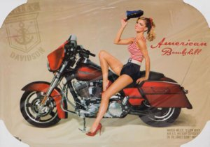 Placa Decorativa Retrô - Harley Davidon American Bombshell