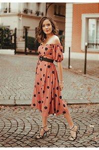 Vestido Mid Poa Rosa Antigo Tamanho 40 - Poema Hit