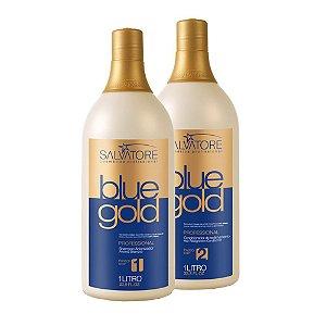 Escova Progressiva Salvatore Blue Gold Kit 2 Passos 1000ml