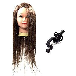 Boneca de cabelo sintético para cortes e penteados com suporte para mesa