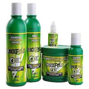 Kit Crece Pelo - Shampoo + Condicionador + Máscara + Leave-in + Ampola Cresce Pêlo