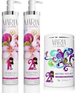 Kit Escova Progressiva Maria Escandalosa 1000ml + Botox Violet 1kg
