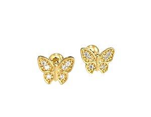 Brinco borboleta em ouro