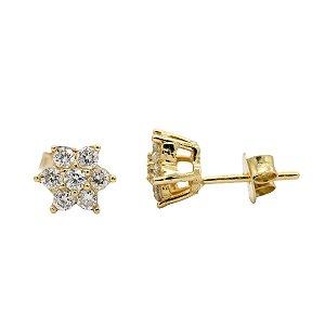 Brinco Flor em ouro 18k com diamantes