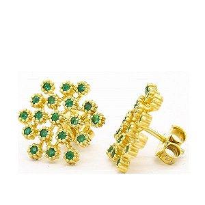 brinco flower em ouro amarelo 18K com esmeraldas