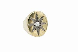 Anel Star anelar em ouro amarelo com diamantes