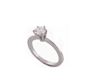 anel solitário em ouro branco