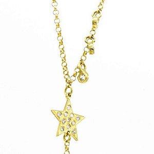 Gravatinha em ouro amarelo com diamantes