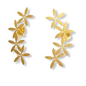 Brinco earcuff flor em ouro amarelo 18k com diamantes