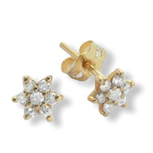 Brinco flor  P em ouro amarelo 18k com diamantes