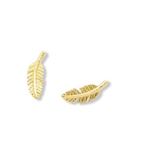 Brinco folha em ouro amarelo 18k