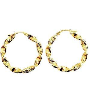 Argola duo torcida G em ouro amarelo 18k