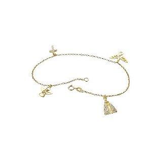 Pulseira Proteção em ouro amarelo com diamantes