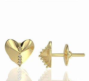 Brinco love em ouro amarelo 18k com diamantes