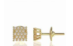 Brinco chuveiro em diamantes e ouro amarelo 18k