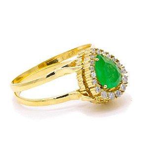 Anel Gota (jade, berilio, diamantes) em ouro amarelo