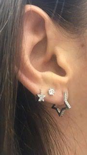 Brinco star em ouro branco 18k com diamantes