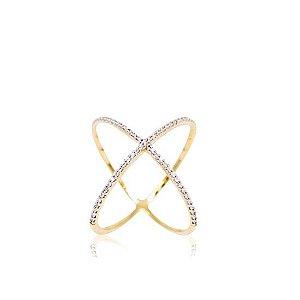 Anel X em diamantes, ouro (amarelo, branco) 18k