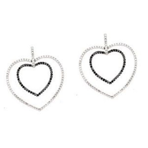 Argola love em ouro branco 18k com diamantes (branco e negro)