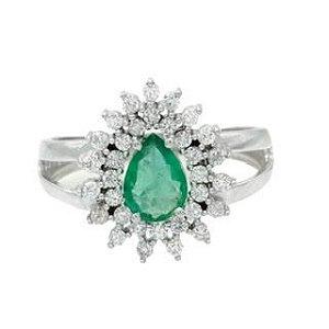 Anel gota em ouro branco 18k em Esmeralda e diamantes