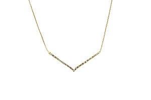 Gargantilha V em ouro amarelo 18k com diamantes