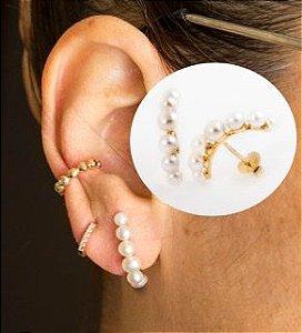 Ear jack em ouro amarelo 18k com pérolas