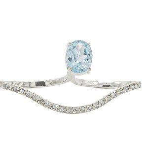 Anel Silhueta em ouro am branco 18k com diamantes e topázio azul