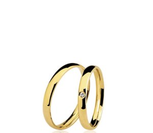 Aliança (Par) em ouro amarelo 18k com diamantes