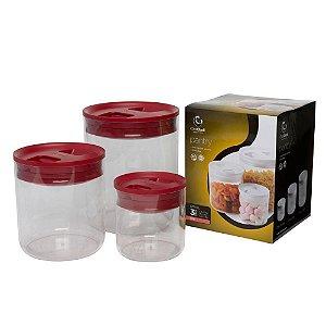 Potes Pantry Conjunto 3 Peças 600 Ml, 1,6 Litro E 3,2 Litros Vermelho Click Clack