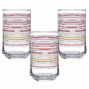 Jogo De Copos Motion Vermelho Ocean Glass Vidro Transparente 290ml 3 Peças