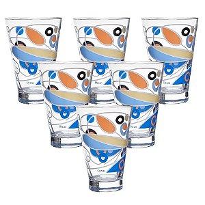 jogo de copos altos butterfly azul ocean glass vidro transparente 435ml 6 peças