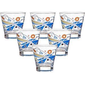 Jogo De Copos Baixos Butterfly Azul Ocean Glass Vidro Transparente 345ml 6 Peças