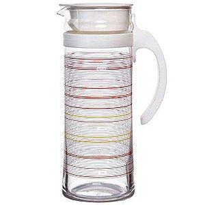 JARRA MOTION VERMELHA OCEAN GLASS VIDRO TRANSPARENTE 1,3 LITROS
