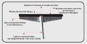 RODO ALUMÍNIO 60 CM COM CABO DE 1,5M TROCA REFIL