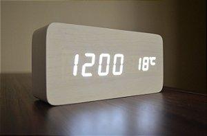 Relógio Despertador Madeira Branco