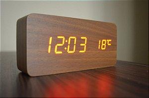 Relógio Despertador Madeira Castanho