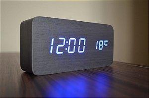 Relógio Despertador Madeira Preto Led  Azul